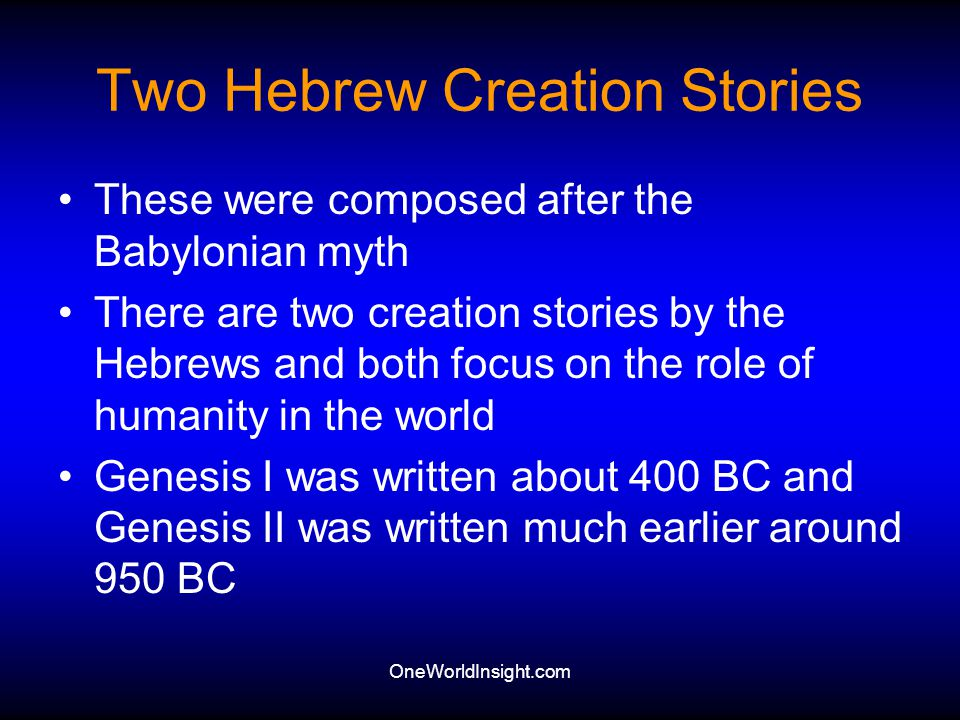 Two Hebrew Creation Stories