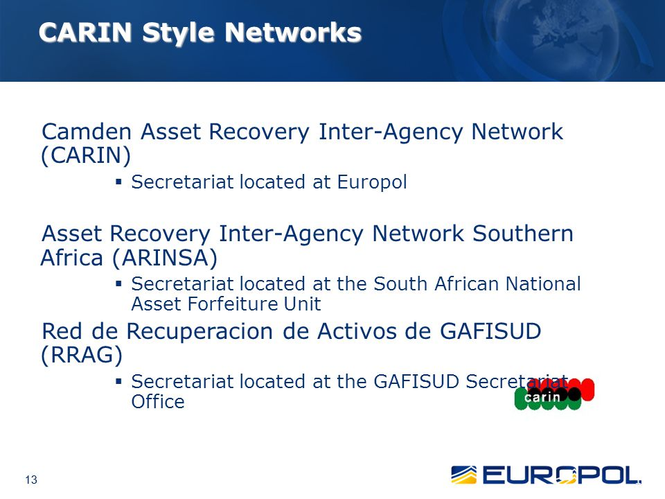 CARIN Style Networks Camden Asset Recovery Inter-Agency Network (CARIN) Secretariat located at Europol.