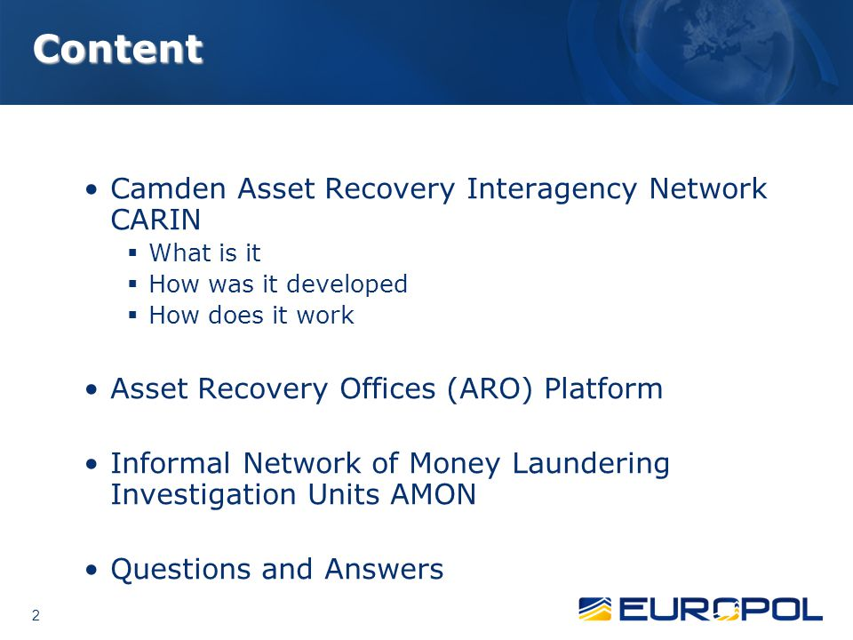 Content Camden Asset Recovery Interagency Network CARIN