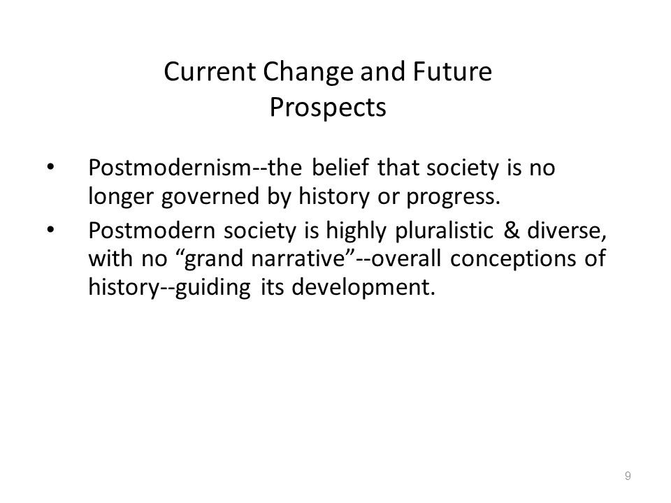 Current Change and Future Prospects