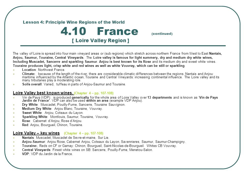 Loire Valley best known wines. (Chapter 4 – pp. 107-108)
