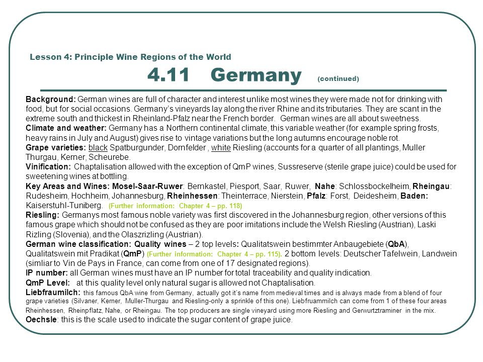 Lesson 4: Principle Wine Regions of the World 4.11 Germany (continued)