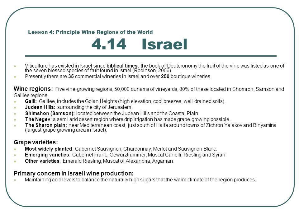 Lesson 4: Principle Wine Regions of the World 4.14 Israel