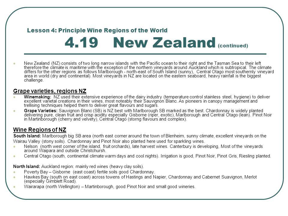 Grape varieties, regions NZ