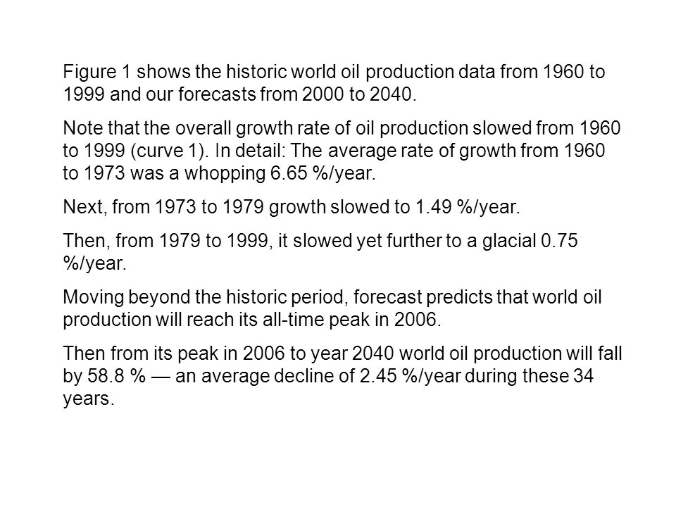 Figure 1 shows the historic world oil production data from 1960 to 1999 and our forecasts from 2000 to 2040.