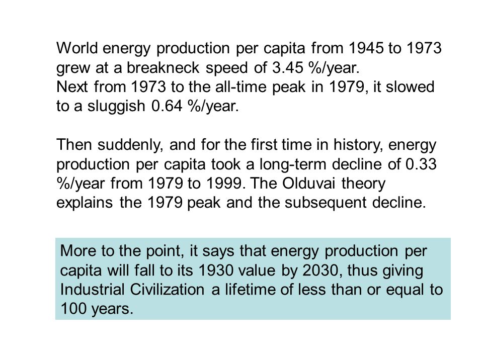 World energy production per capita from 1945 to 1973 grew at a breakneck speed of 3.45 %/year.