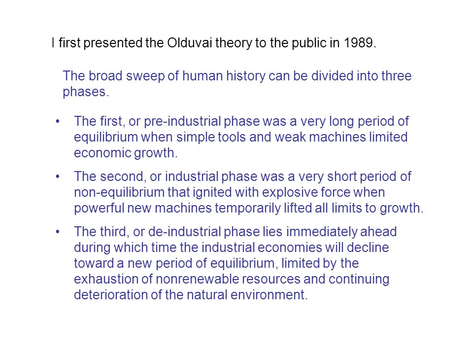 I first presented the Olduvai theory to the public in 1989.