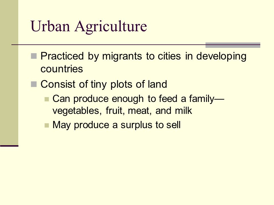 Urban Agriculture Practiced by migrants to cities in developing countries. Consist of tiny plots of land.