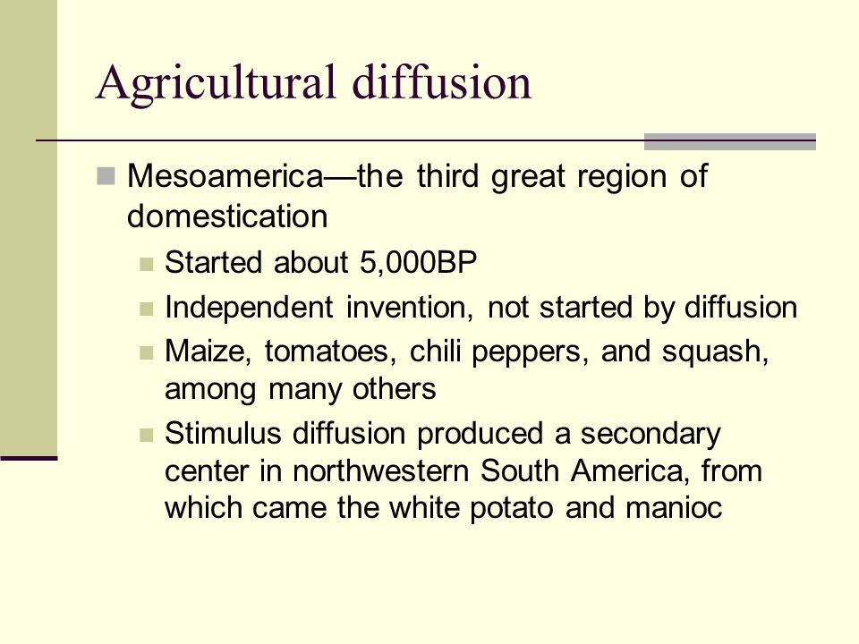 Agricultural diffusion