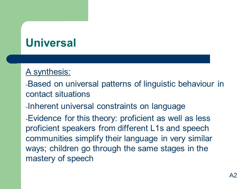 Universal A synthesis: