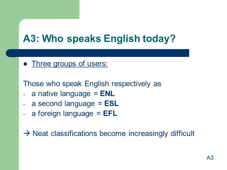 A3: Who speaks English today