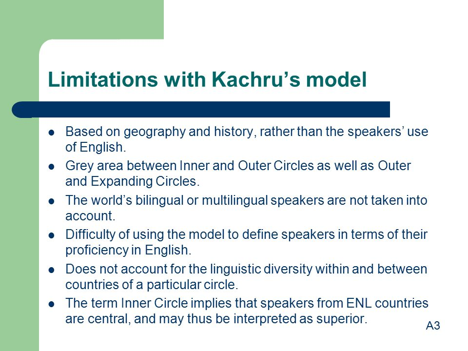 Limitations with Kachru's model