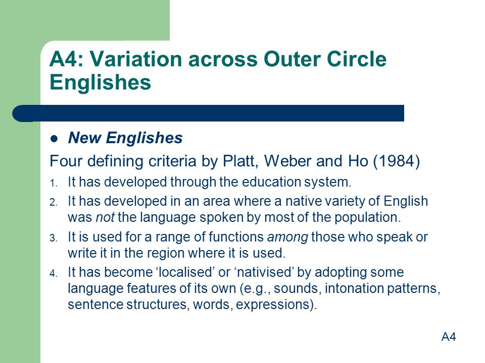 A4: Variation across Outer Circle Englishes