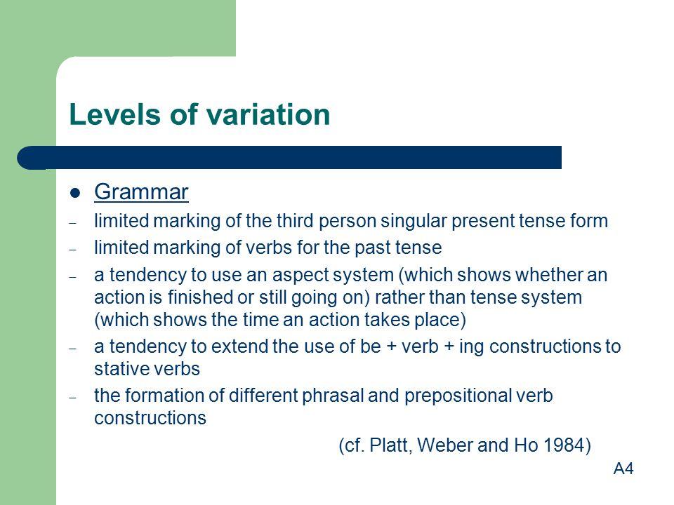 Levels of variation Grammar