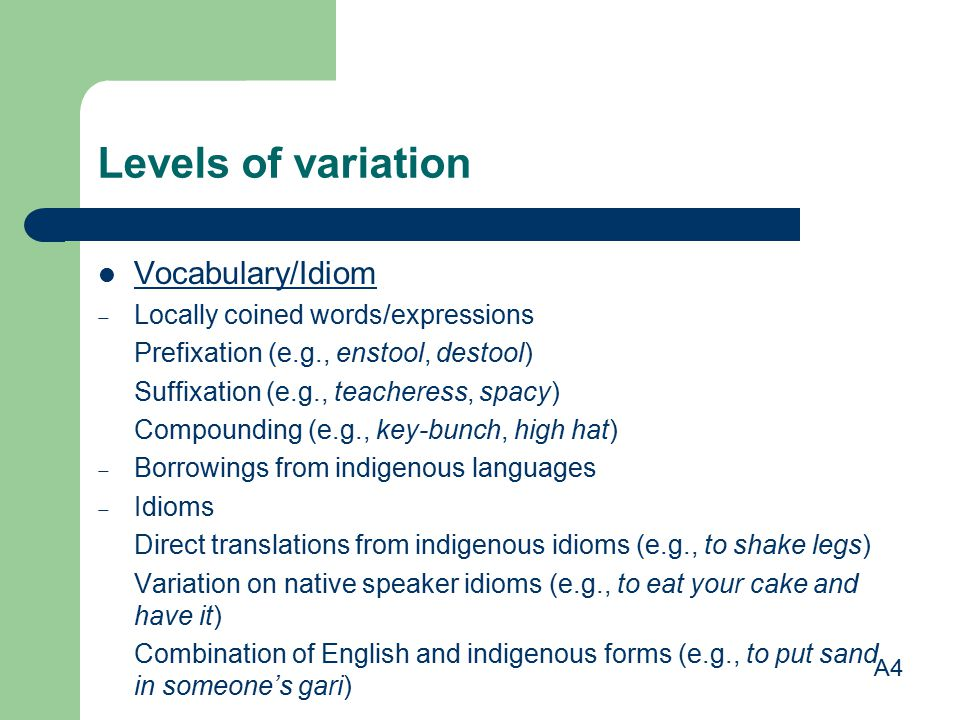 Levels of variation Vocabulary/Idiom Locally coined words/expressions