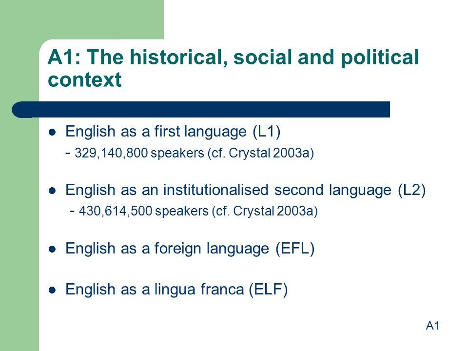 A1: The historical, social and political context