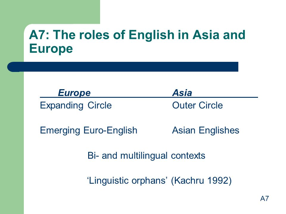 A7: The roles of English in Asia and Europe