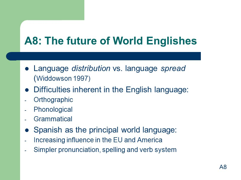 A8: The future of World Englishes