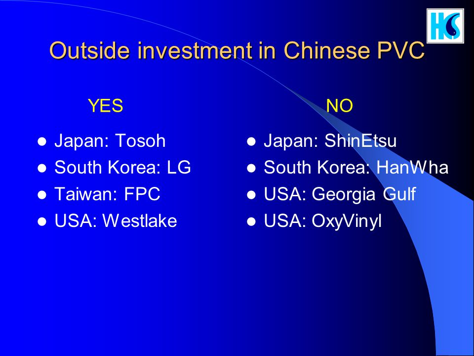 Outside investment in Chinese PVC