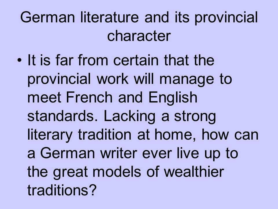 German literature and its provincial character