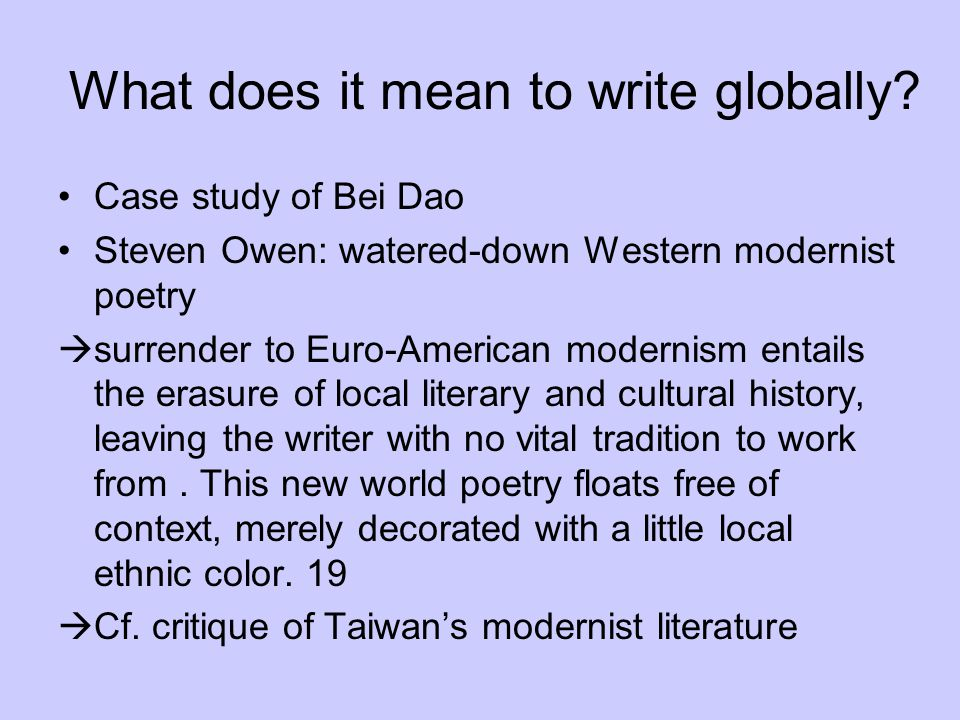 What does it mean to write globally