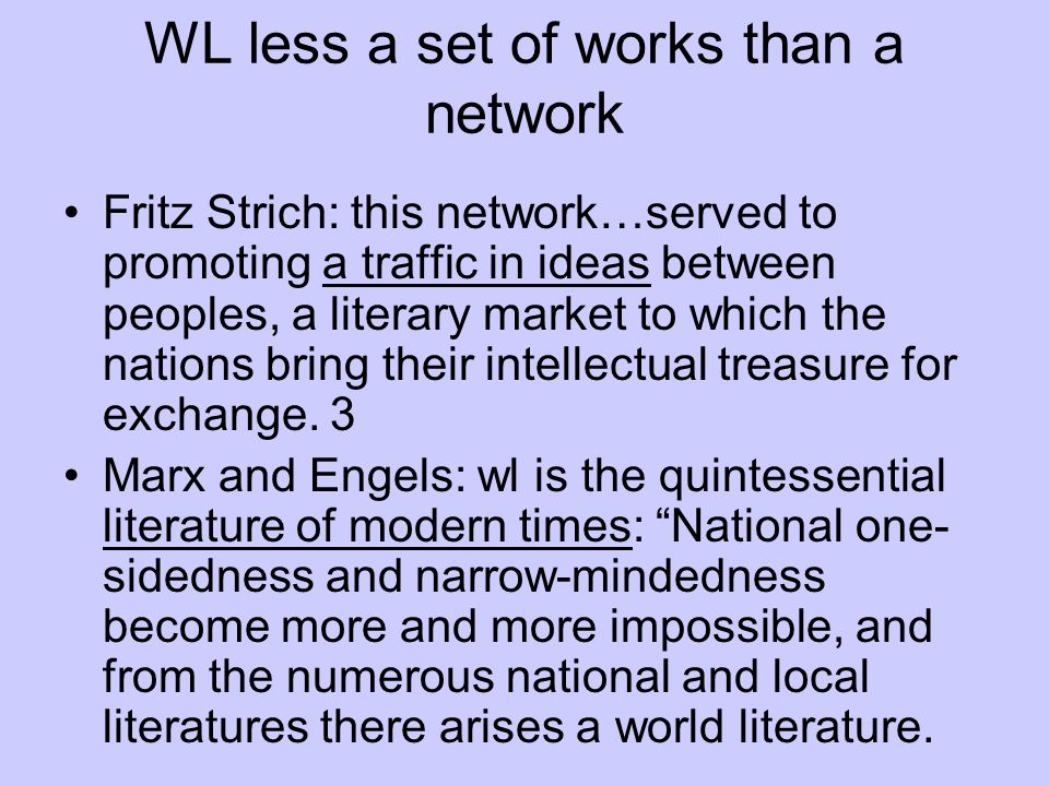 WL less a set of works than a network