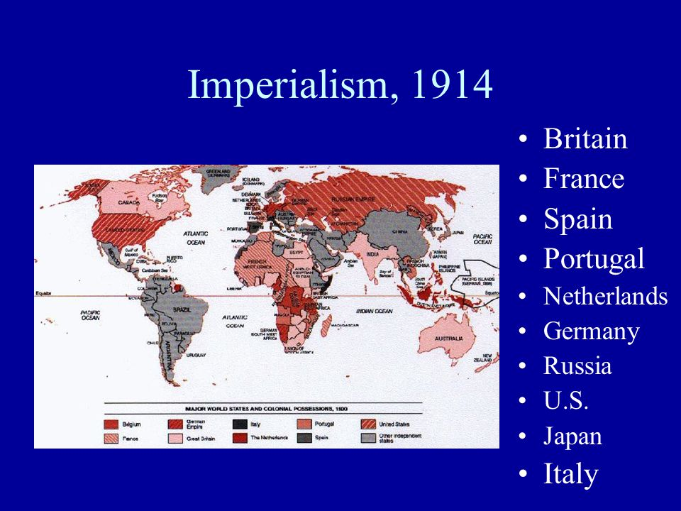 Imperialism, 1914 Britain France Spain Portugal Italy Netherlands