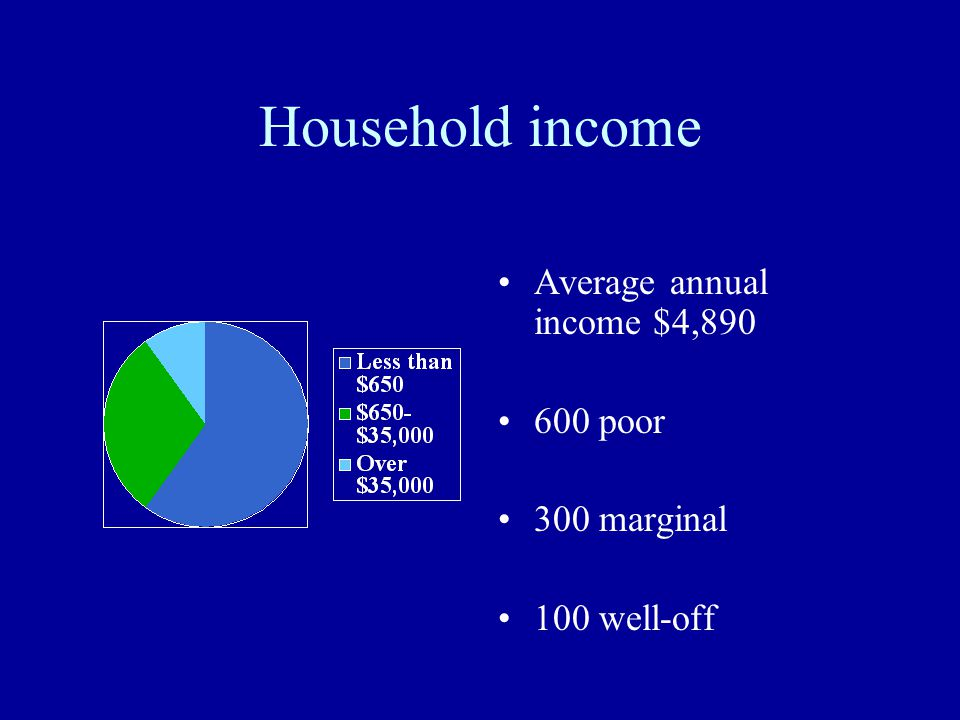 Household income Average annual income $4,890 600 poor 300 marginal