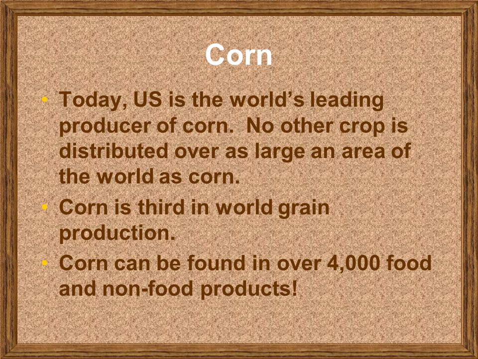 Corn Today, US is the world's leading producer of corn. No other crop is distributed over as large an area of the world as corn.