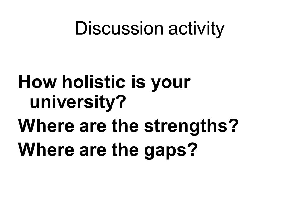 Discussion activity How holistic is your university Where are the strengths Where are the gaps