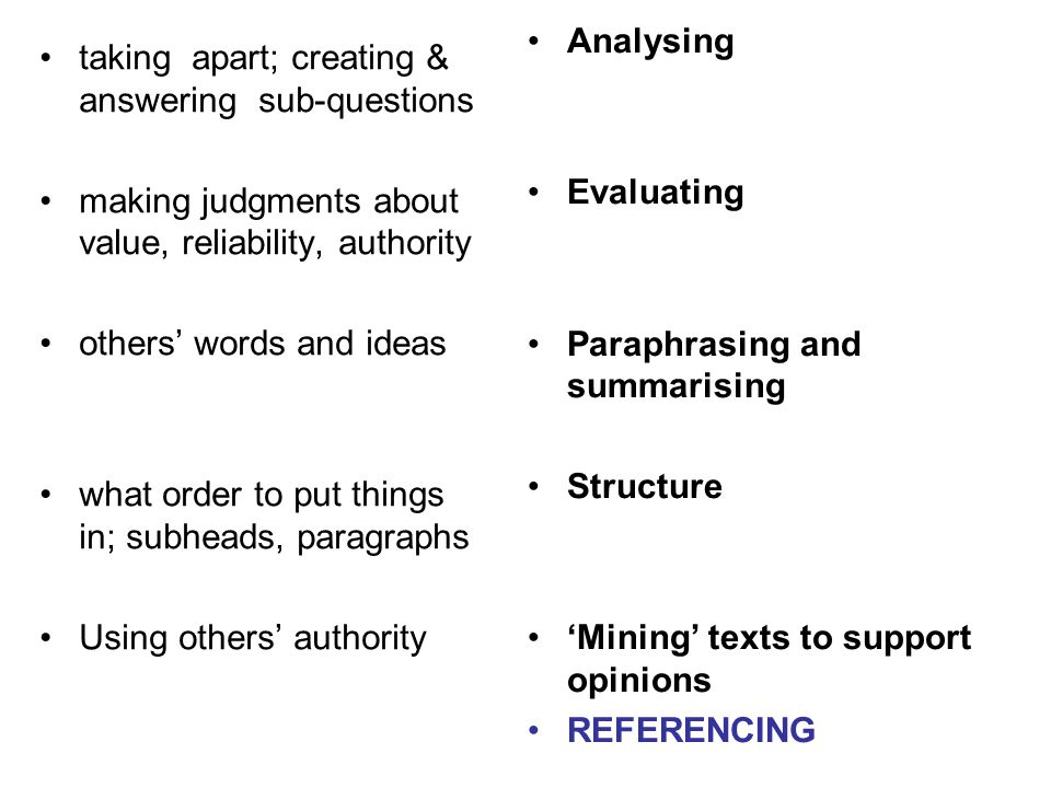 Analysing Evaluating. Paraphrasing and summarising. Structure. 'Mining' texts to support opinions.