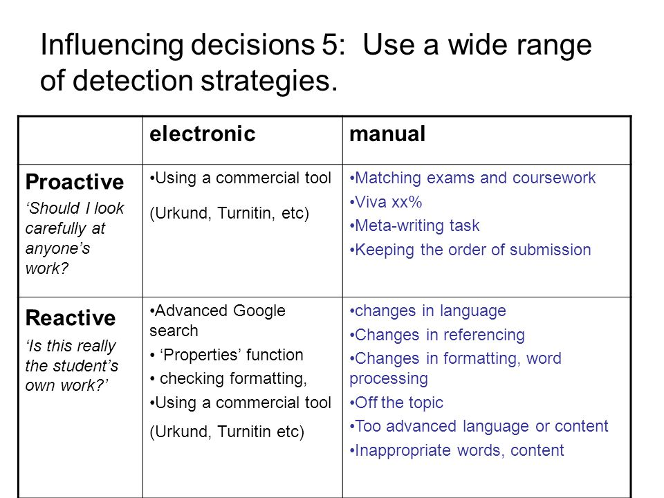 Influencing decisions 5: Use a wide range of detection strategies.