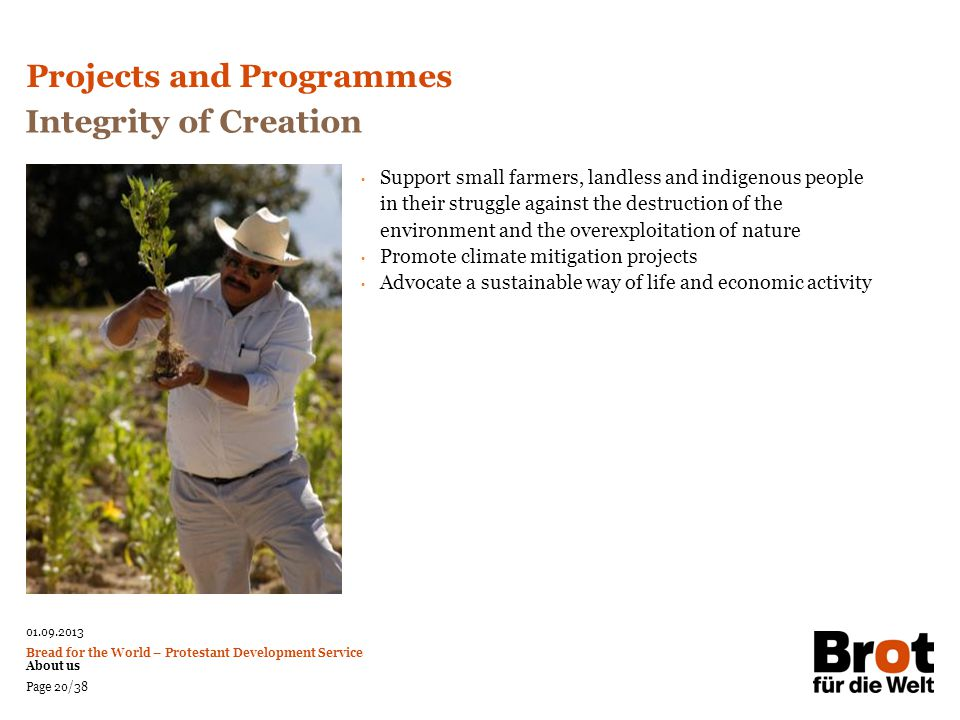 Projects and Programmes Integrity of Creation