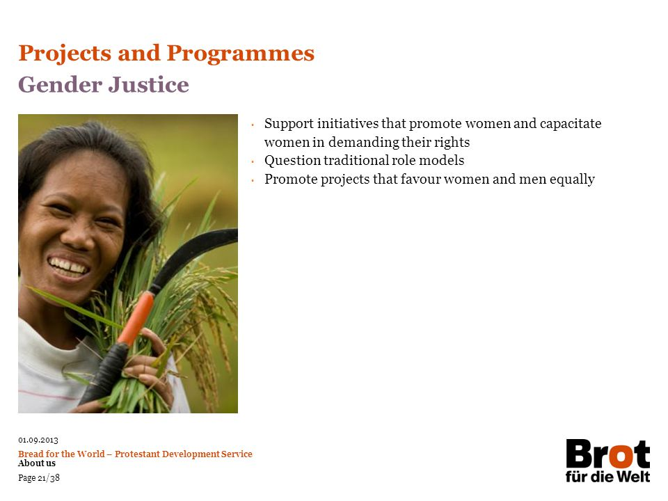 Projects and Programmes Gender Justice