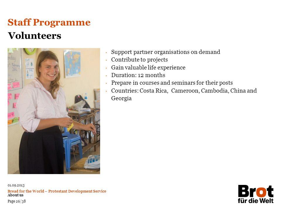 Staff Programme Volunteers Support partner organisations on demand