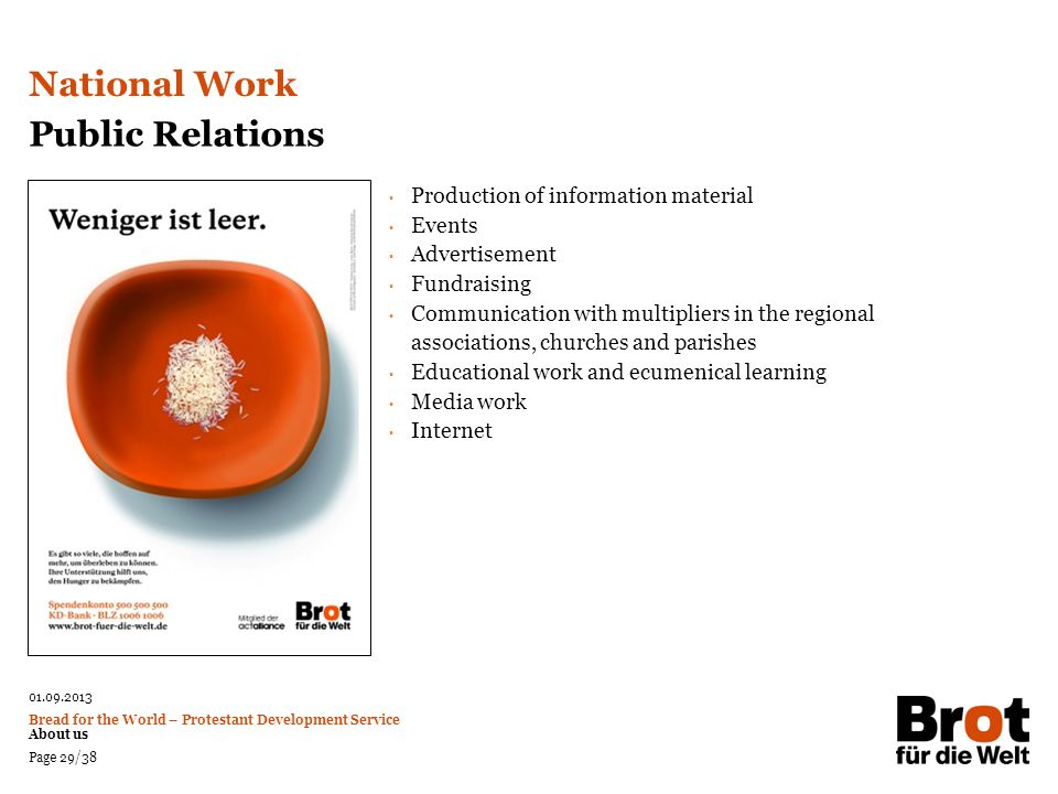 National Work Public Relations Production of information material