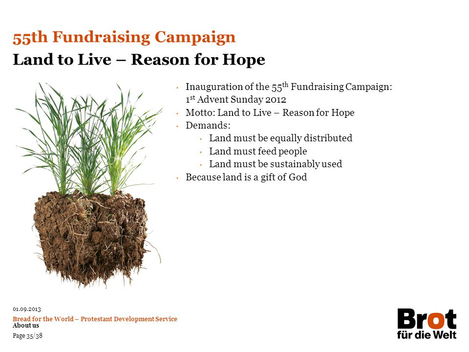 55th Fundraising Campaign Land to Live – Reason for Hope