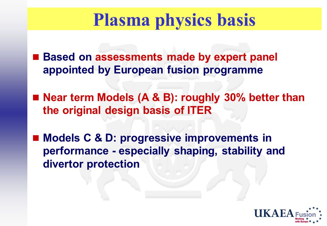 Plasma physics basis Based on assessments made by expert panel appointed by European fusion programme.