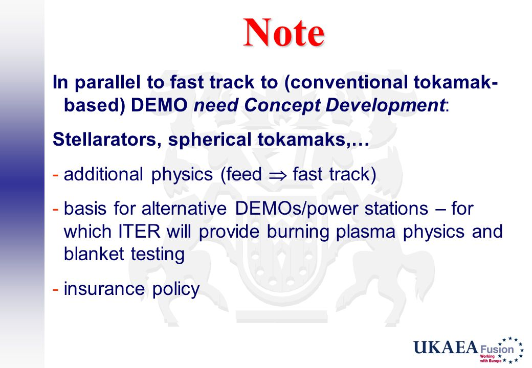 Note In parallel to fast track to (conventional tokamak-based) DEMO need Concept Development: Stellarators, spherical tokamaks,…