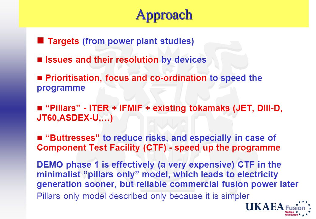 Approach Targets (from power plant studies)