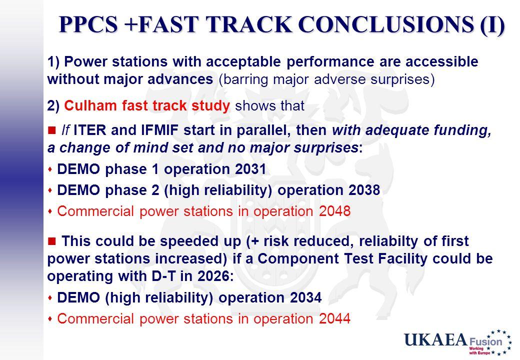 PPCS +FAST TRACK CONCLUSIONS (I)