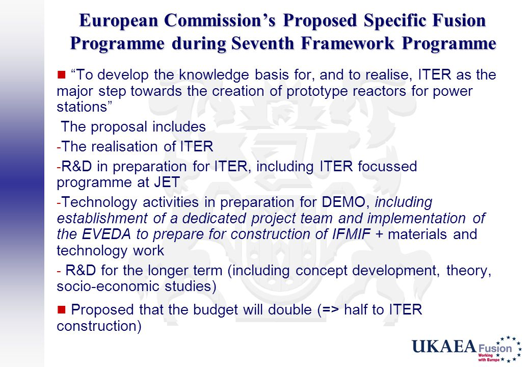 European Commission's Proposed Specific Fusion Programme during Seventh Framework Programme