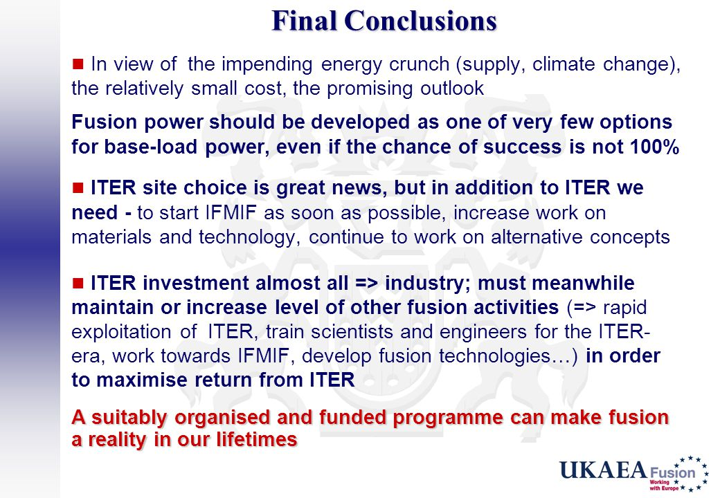 Final Conclusions In view of the impending energy crunch (supply, climate change), the relatively small cost, the promising outlook.
