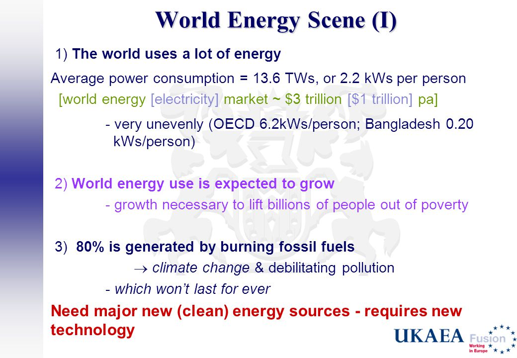World Energy Scene (I) 1) The world uses a lot of energy. Average power consumption = 13.6 TWs, or 2.2 kWs per person.