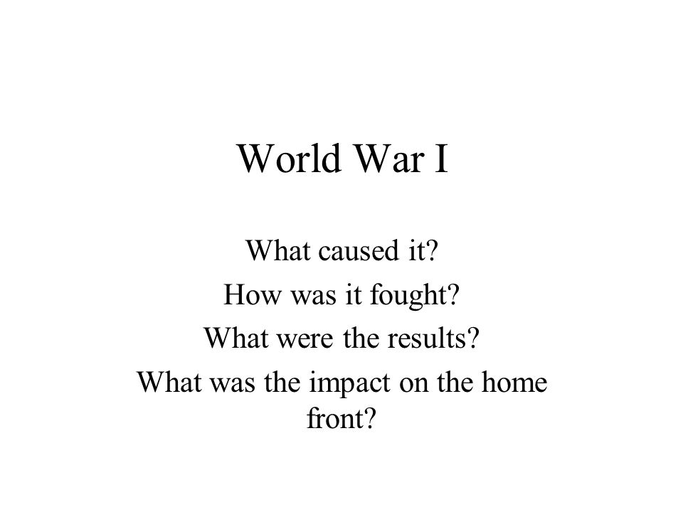 What was the impact on the home front
