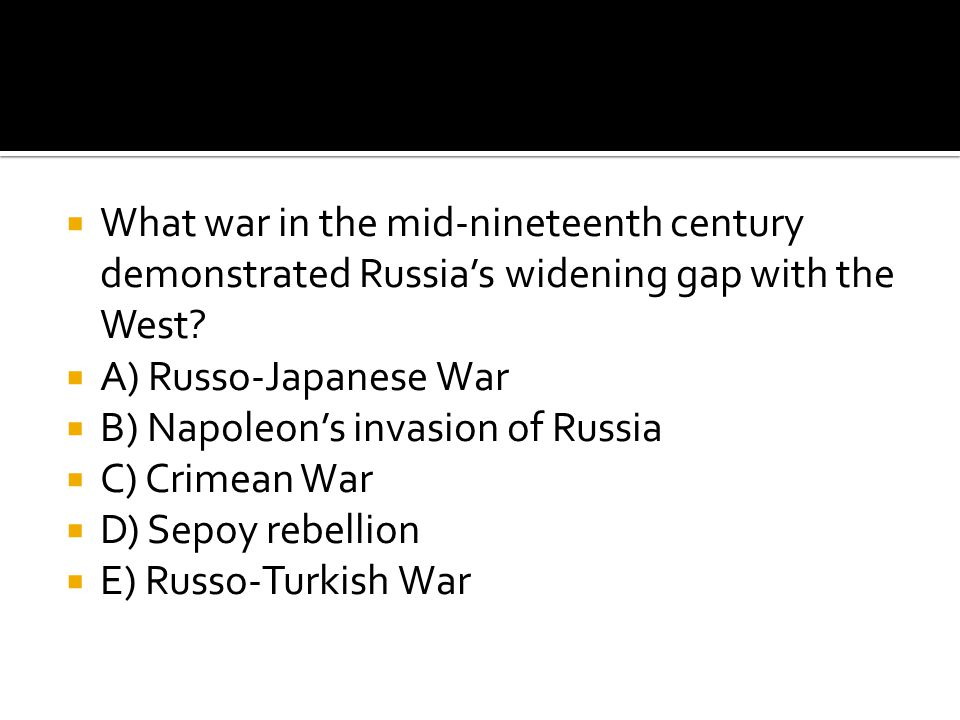What war in the mid-nineteenth century demonstrated Russia's widening gap with the West