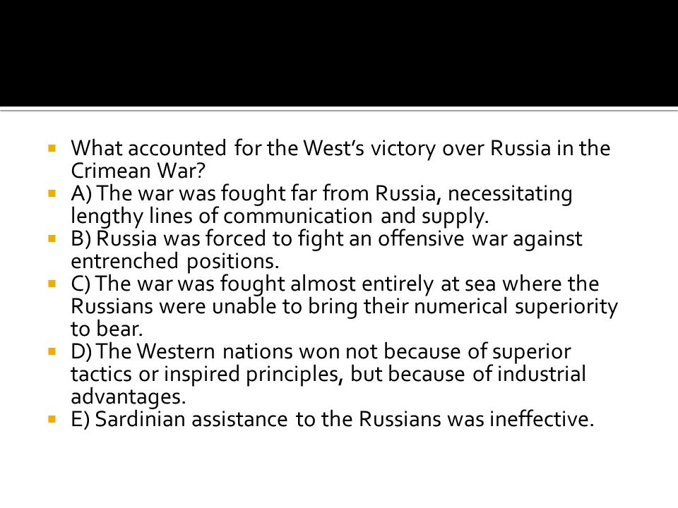 What accounted for the West's victory over Russia in the Crimean War