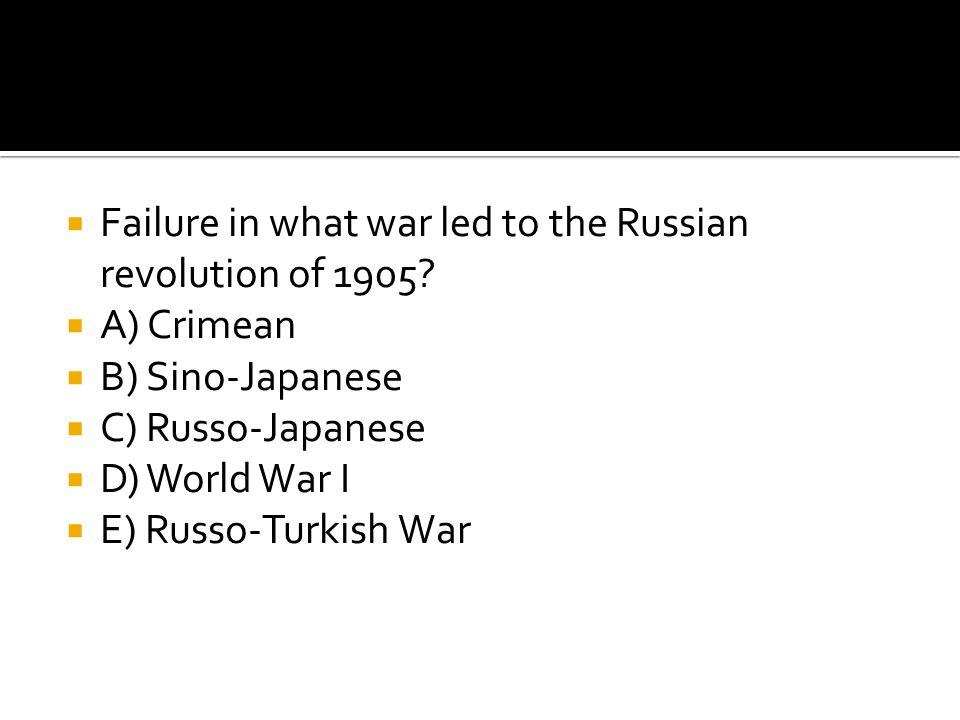 Failure in what war led to the Russian revolution of 1905