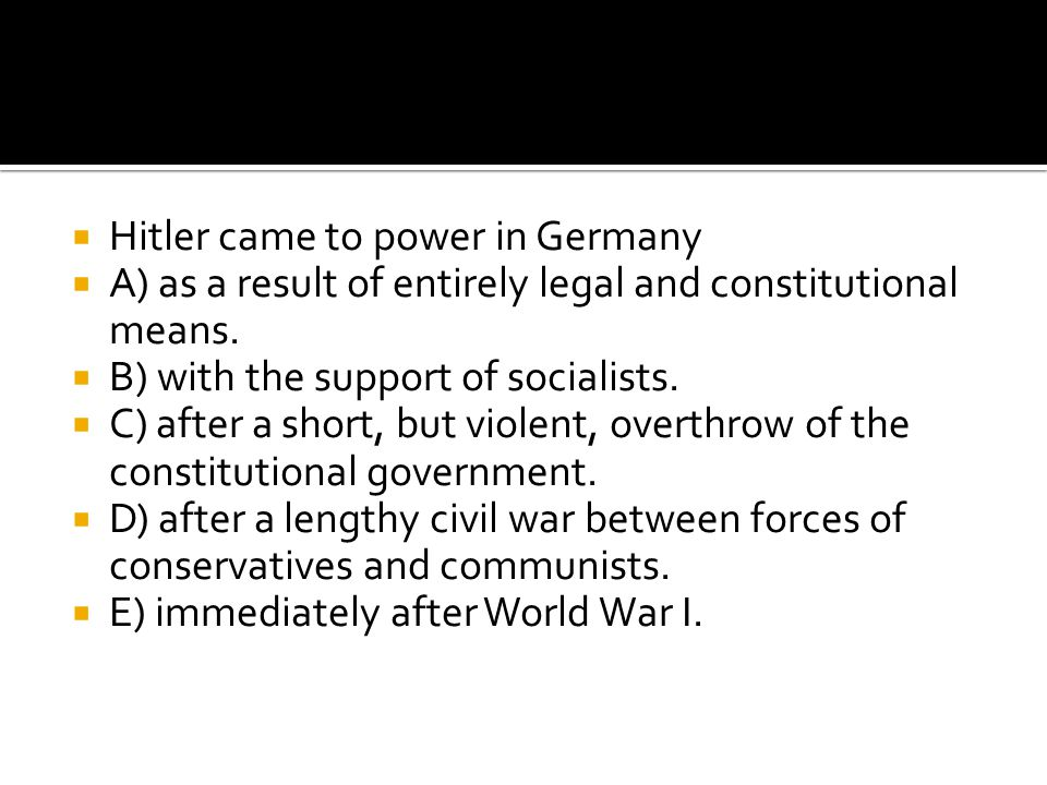 Hitler came to power in Germany