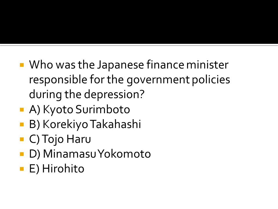 Who was the Japanese finance minister responsible for the government policies during the depression